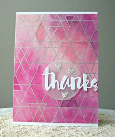 Card geometric shapes, SSS Abstract Triangles, thanks scripty words and letters , Simon Says Stamp Cool Cards, Diy Cards, Card Making Inspiration, Making Ideas, Thank U Cards, Embossed Cards, Beautiful Handmade Cards, Card Tutorials, Pretty Cards