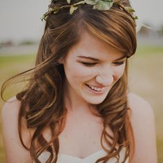 Curly Half-Up Wedding Hair With Wreath -  A Rustic Half-Up Wedding Hairstyle |