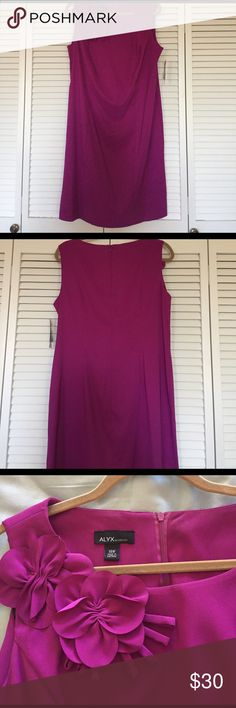 Fuchsia sheath dress size 14W Great summer wedding dress in fuchsia with floral detail at neckline.  Sleeveless and knee length.  New with tags size 14W. jcpenney Dresses