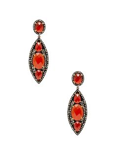 Pave Diamond & Red Onyx Drop Earrings by Jennifer Miller at Gilt