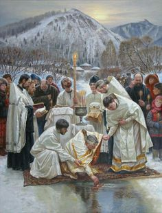 orthodox painting, blessing of the water Catholic Religion, Catholic Art, Russian Painting, Russian Art, Religious Images, Religious Art, Faith Of Our Fathers, Christian Artwork, Bright Art
