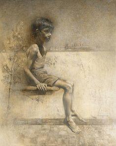 """""""Niño con jazmin"""" Grafito sobre papel. Paco Carrillo Cruz"""