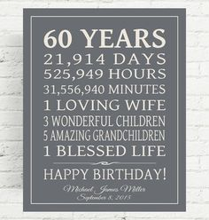 60th BIRTHDAY GIFT Sign Dad Birthday Gift Mom By PrintsbyChristine Ideas For