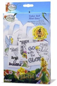 "Disney Tinkerbell Mini Tote by Janlynn. $9.99. Decorate each one different to match every new outfit.. Adult supervision is required size 5.5""x 5.5"". DISNEY. Sales limited to USA and Canada only.. Contains: 4 Permanent ink screen printed, polyester/cotton mini totes with nylon cording, 16 non- toxic crayons and instructions.. From the Manufacturer                Tinker Bell Mini-Totes Personalize each tote bag to make a great gift. They also make great party favors.    ..."