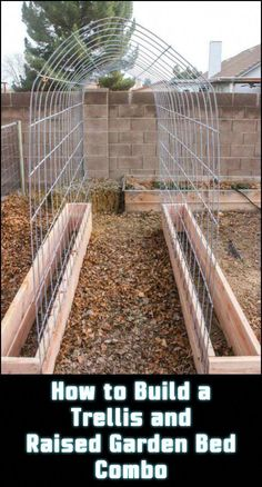 Maximise harvest in your garden with a space-saving trellis and raised garden bed combo. Cucumber snap peas green beans tomatoes ah just think about that fresh great tasting organic food you can grow in a small area! Building A Trellis, Building A Raised Garden, Raised Garden Bed Design, Small Garden Raised Beds, Raised Garden Bed Plans, Pea Trellis, Garden Trellis, Fence Garden, Garden Signs