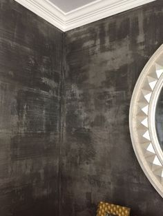 Modern Masters Metallic Plaster in color Tungsten, Pewter foil and Modern Masters Black Pearl glaze on Powder Bath Walls Faux Walls, Textured Walls, Metal Walls, Faux Painting Walls, Wall Paintings, Painting Furniture, Feature Wall Bedroom, Bedroom Wall, Master Bedroom