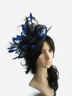 Navy Blue  amp  Sapphire Fascinator ..Sinamay and Feather Teardrop style  with swirls  16f38cb15ba