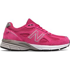 New Balance Pink Ribbon 990v4 Women's Made in USA Shoes ($165) ❤ liked on Polyvore featuring shoes, athletic shoes, running shoes, pink shoes, pink athletic shoes, athletic running shoes and pink ribbon shoes