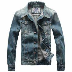 2015 Spring Autumn Lapel Do the old Retro Cotton Denim Jacket Slim Wear white Cowboy Outer Men outwear