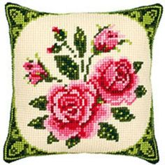 Pink Roses - Large Holed Tapestry Cushion Kit/Printed Chunky Cross Stitch in Crafts, Tapestry & Needlepoint, Kits   eBay