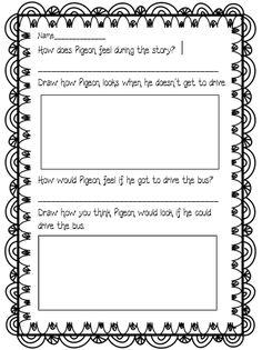 """Worksheet for """"Don't Let the Pigeon Drive the Bus"""" by Mo Willems (Common Core Aligned RL.K.7 RL.1.7)"""
