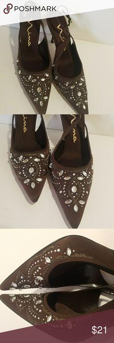 "NINA Women's 8 M Brown Suede Beaded Jeweled Pumps NINA - Brown Suede - 8M - 3.5"" Heels - Pointy Toe - Slingback - Beaded Jeweled - NWOT Item#01-05S Nina Shoes Heels"