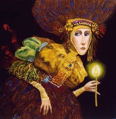 JAMES CHRISTENSEN - GIRL WITH CANDLE 2