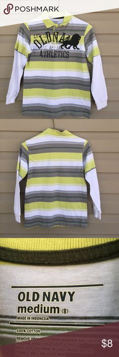 Old Navy boys shirt Nice double sleeve polo shirt 100% cotton 3 button front no stains or holes Old Navy Shirts & Tops Tees - Long Sleeve