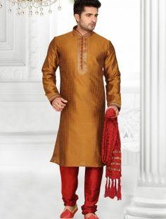 Classical Brown Art Silk Wedding Wear Kurta Pajama