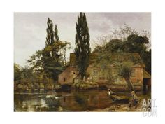 Mill on the Avon, 1886 Stretched Canvas Print by John Arthur Lomax at Art.com