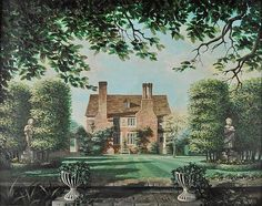 ✽ felix kelly - 'home in summertime with lawn and statuary' - 'an english country' - dominic winter auctions