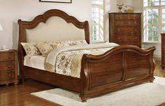 Homelegance Davina Upholstered Sleigh Bed - Brown Cherry - 1837-1