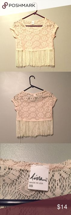 Fringe Crop Top Fringe Crop Top by Korea from PacSun. Transparent cream Lace in a floral print with fringes hanging. Never been worn. Perfect for a festival!! No trades but offers accepted Kirra Tops Crop Tops