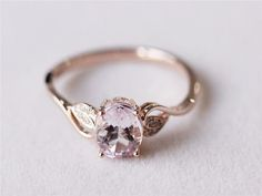 Gold Leaf Oval Cut Rose Engagement Ring