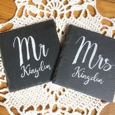 A natural slate coaster set for Mr & Mrs Kingdon on one of my handmade crocheted doilies - homemade happiness for your perfect day! . . . #handmadewedding #homemadewedding #northdevonwedding #northdevon #north_devon #naturalslate #inspiredbytypography #handlettering #chalklettering #crochet #crochetwedding #etsy #etsyseller #crochetdoily #handmadeinnorthdevon #smallbusiness #handmadebusiness