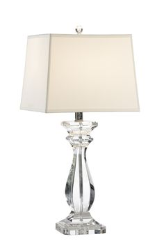 This lovely lamp features a solid crystal base with polished nickel accents. The lamp measures 6.5