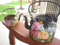 Painted Milk Cans, Decoupage, Watering Can, Kettle, Tea Pots, Ceramics, Canning, Paintings, Home Decor