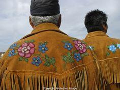 moosehide jacket with beaded yoke. Native Beadwork, Native American Beadwork, Native American Art, Jingle Dress Dancer, Native Wears, Beaded Banners, Ribbon Shirt, Beadwork Designs, Native Design