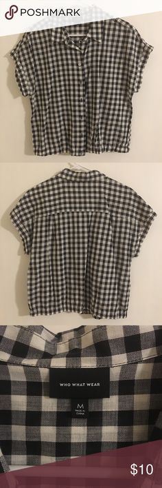 Who What Wear crop tee Black and white plaid crop tee. Who What Wear Tops Crop Tops