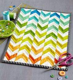 Rainbow Chevron Mini inspired by With Flying Colors by designer Megan Pitz in Spring 2016 issue of Quilts and More. Made by Jody Sanders. Rainbow Chevron, Rainbow Quilt, Small Quilts, Mini Quilts, Baby Quilts, Quilting Tutorials, Quilting Projects, Quilting Ideas, Sewing Projects