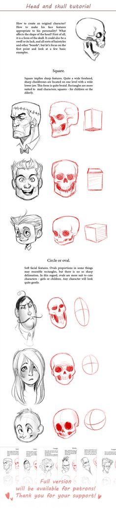 and skull tutorial by MisterKay Character Design Cartoon, Cartoon Design, Character Design References, Anatomy Reference, Drawing Reference, Skull Reference, Illustrator Tutorials, Art Tutorials, Drawing Techniques