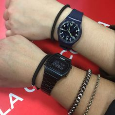 black Casio and swatch
