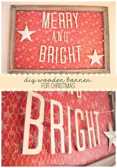 Merry and bright wooden banner.