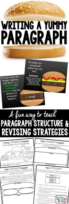 Paragraph writing just got YUMMY! This Writing PowerPoint and bundle of paragraph writing activities is sure to help students learn paragraph structure and revising strategies.