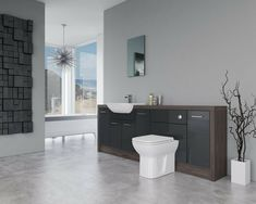 Bathroom Fitted Furniture 2200mm Anthracite Gloss / Lava Grey Fleetwood D2 - Bat · $955.00 Fitted Bathroom Furniture, Dream Bathrooms, Furniture Deals, Lava, Grey, Fitness, Home, Gray, Ad Home