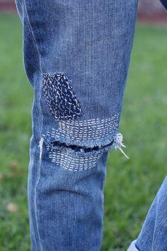 сашико-заплатки на джинсах