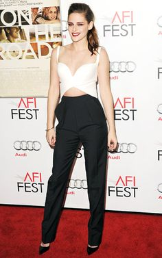 Kristen Stewart showed some cleavage and her toned tummy in a Balenciaga ensemble