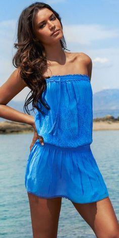 Royal Blue Eyelet Detail Bandeau Dress