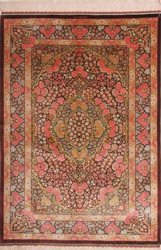 "QUM SILK RUG 264776 Dimensions 146 x 101 cm ( 4' 9"" x 3' 4"" ) Origin IRAN Persian Carpet, Persian Rug, Oriental Rug, Rugs On Carpet, Interior Architecture, Bohemian Rug, Textiles, Tapestry, Silk"