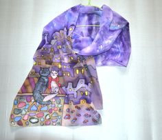 Hey, I found this really awesome Etsy listing at https://www.etsy.com/il-en/listing/177281290/silk-scarf-wrap-batik-cats-silk-crepe-de