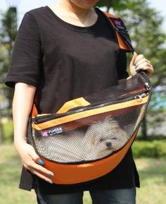 Fundle® Pet Sling See-Through Dog and Cat Carrier (I'm going to buy the black one for my boy. Perfect for the summer)