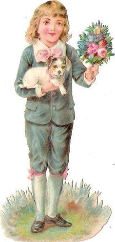 Oblaten Glanzbild scrap die cut chromo Kind child 11,5cm boy dog Hund chien
