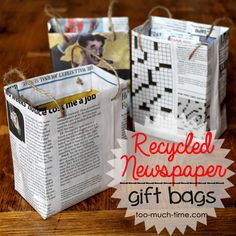 How to make unique gift bags from upcycled newspaper & oatmeal containers.