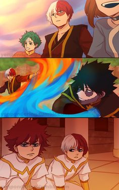 Anime Guys Pondering My Life Choices - Can u explain a little about the bnha Avatar! I really loved the idea and the art is amazing! Is Shouto a duel bender because of his quirk or only fire? What's the Todoroki's backstory? Anime Crossover, Fandom Crossover, Comic Anime, Otaku Anime, Anime Guys, Anime Art, My Hero Academia Shouto, Hero Academia Characters, Manhwa