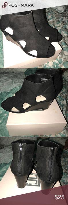 Torrid suede wedges Black suede peep toe wedges. Wide. torrid Shoes Wedges