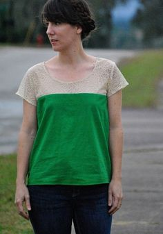 Love the mix of lace and bold green on Dandelion Drift's Lace Color Blocked Scout Tee