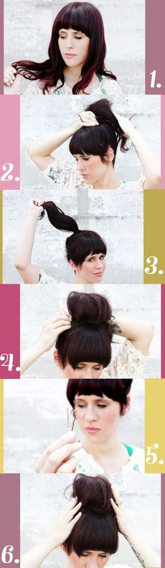 1. Depending on how long your hair is you can style the bun on the top of your head, towards the bottom (near your neck) or to the side. My hair is pretty long, so I can style it all three ways. If your hair is shorter, try a lower bun. See below for more variations of the messy bun. 2-3. Tie a ponytail. I love them super high at the top of my head. Be sure to tie your rubber band tight. 4. Use bobby pins to twist and pin pieces of your hair all around the base of the ponytail. This creates…