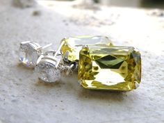 Bridal Earrings Pastel Yellow Foiled Octagon Stone by SomsStudio, $27.00