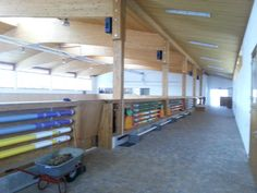 Indoor ring, open so the horses don't feel claustrophobic while stuck inside in the winter & storage for jumps!