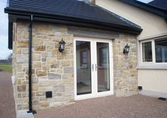 90% Tipperary Brown & 10% Tipperary Blue Sandstone - Coolestone Stone Importers Suppliers Masonry Tyrone Northern Ireland Blue Granite, Double Front Doors, Stone Masonry, House Windows, Northern Ireland, Bungalow, Modern Design, House Design, French Style